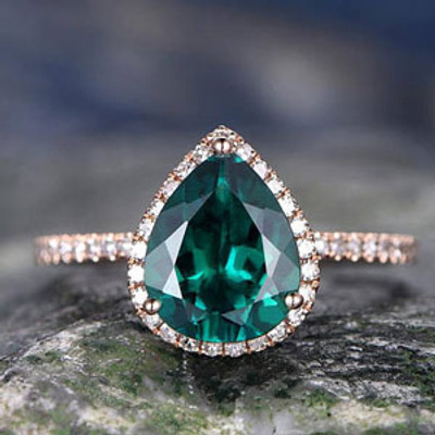 Emerald wedding Ring-7x9mm pear cut emerald engagement ring Set-14k rose gold-handmade diamond ring-birthstone promise ring for her,thin