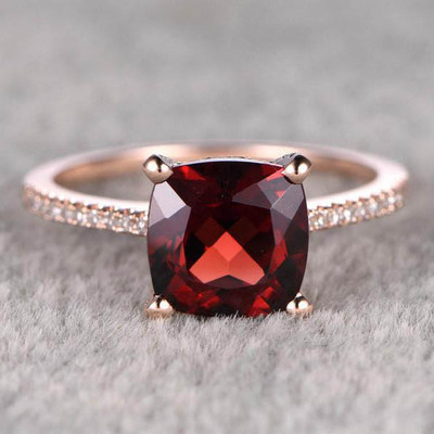 8mm Cushion Garnet Engagement Ring Diamond Wedding Ring 4