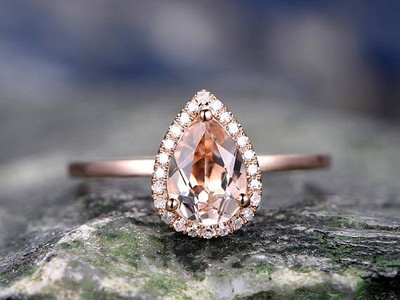 Pear shaped Morganite Ring