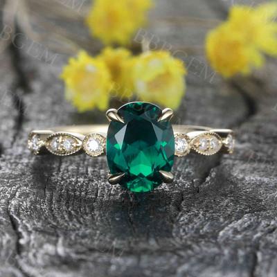 Oval Emerald Ring-BBBGEM Emerald Diamonds Promise Rings