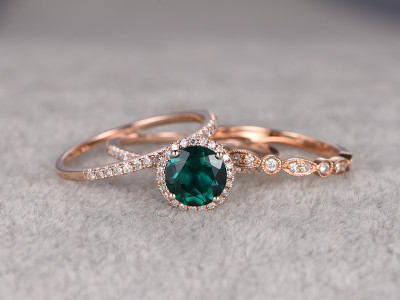 3pcs 7mm Round Emerald Wedding Set Diamond Bridal Ring 14k Rose Gold  Retro Vintage Art Deco