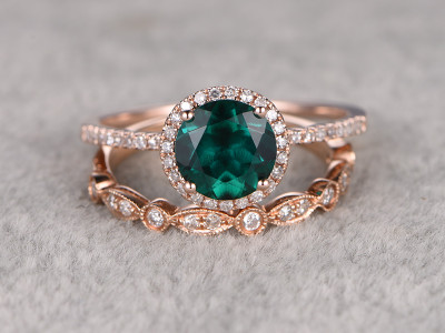 7mm Round Cut Emerald Wedding Set Diamond Bridal Ring 14k Rose Gold Marquise Matching Band