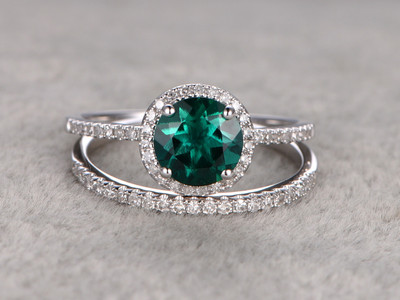 7mm Round Cut Emerald Wedding Set Diamond Bridal Ring 14k White Gold Pave Thin Matching Band