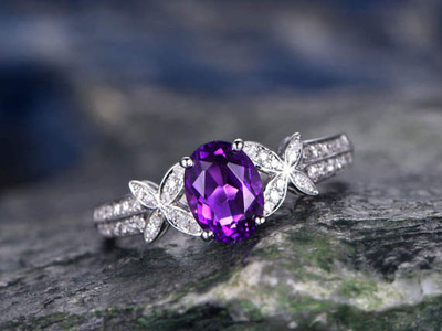 amethyst engagement rings white gold