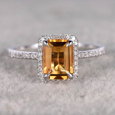 Emerald Cut Citrine Engagement Rings 0