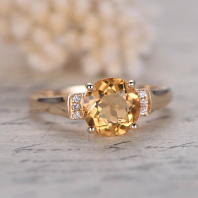 8mm Round Citrine Engagement Ring 0