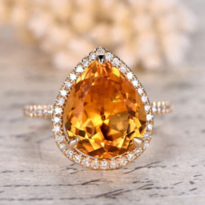 10x12mm Pear Cut Natural Citrine Engagement Ring 0