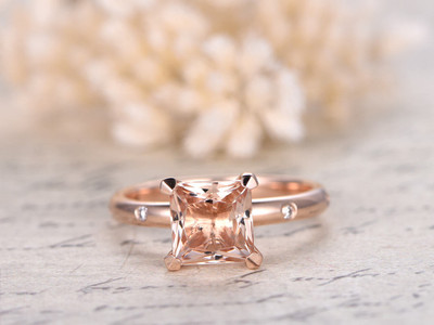 Morganite Engagement Rings 7mm Princess Cut