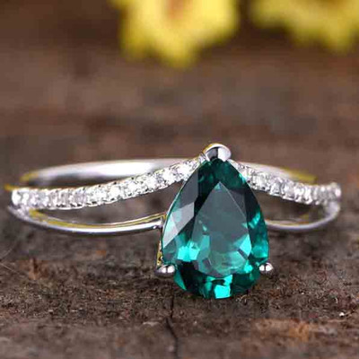 Pear Shaped Classic Emerald Engagement Ring-Solid 14k White Gold