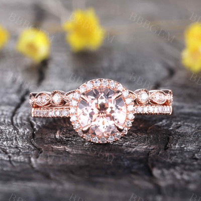Round Morganite Wedding Set