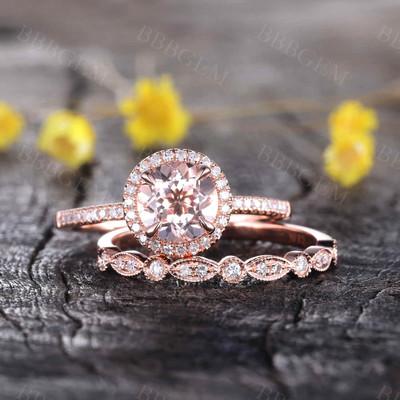 Round Morganite Wedding Set-BBBGEM Halo Morganite Bridal Set
