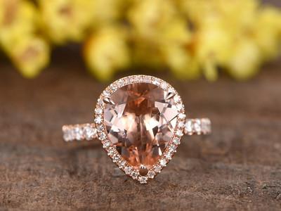 3 carat pear shaped morganite engagement ring