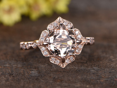Cushion Cut Morganite Ring 14k Rose gold