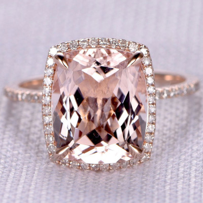 5 carat morganite ring-BBBGEM Cushion Cut Morganite Ring