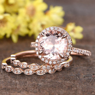 Morganite Bridal Set
