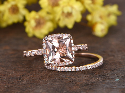 2.5 Carat Morganite Bridal Set
