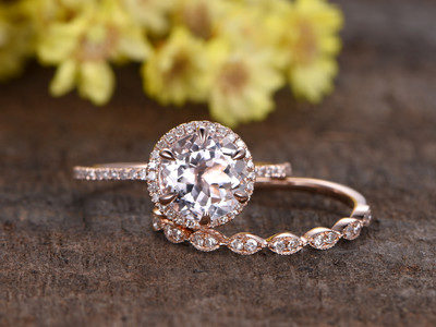 Morganite Rose Gold Wedding Set
