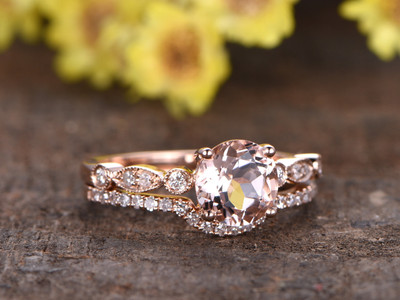 1 Carat Morganite Rose Gold Wedding Set