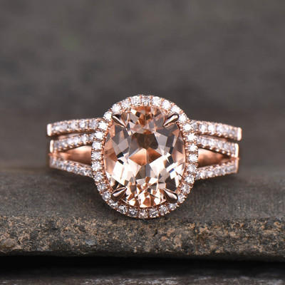 2.5 Carat Oval Morganite Rose Gold Wedding Set-BBBGEM SPlit Shank Morganite Ring