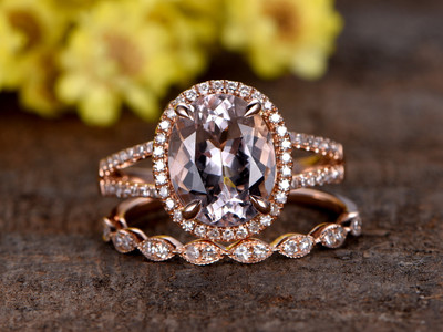 Oval Morganite Rose Gold Wedding Set