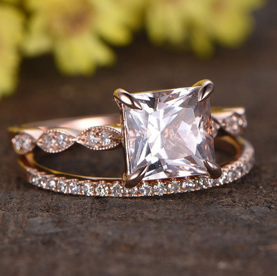 Princess Cut Morganite Rose Gold Wedding Set