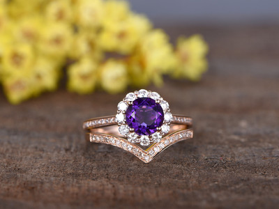 1.2 Carat Round Amethyst Wedding Ring Set 14k Rose Gold Flower Engagement Ring Halo Moissanite and Diamond Infinity Matching Band