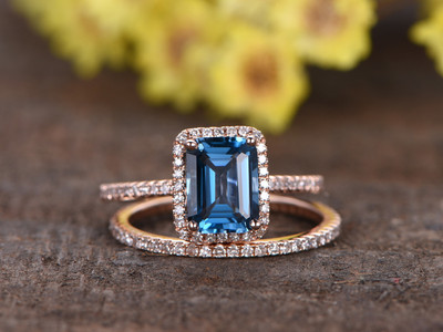 1.4 carat Emerald Cut London Blue Topaz Wedding Set 14k Rose Gold Diamond Bridal Ring Thin Stacking Matching Band