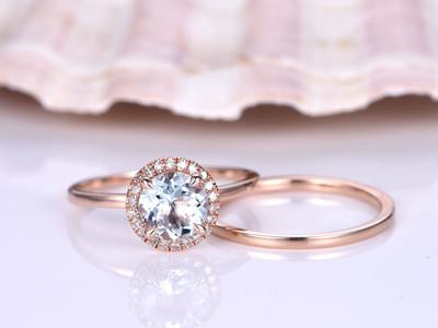 Aquamarine Bridal Set-BBBGEM Halo Aquamarine Ring Set