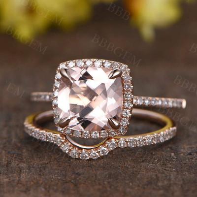 14K/18K Rose Gold Cushion Cut Morganite Diamond Bridal Set Waverly