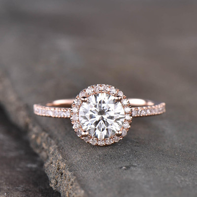 moissanite diamond rings rose gold