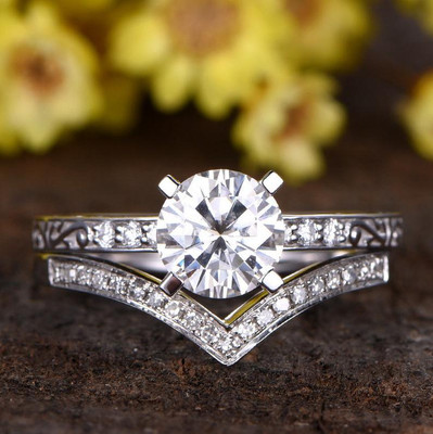 1.25 Carat Round Moissanite Wedding Sets