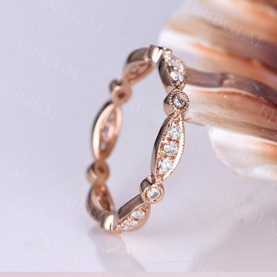Marquise Diamond wedding band 14k rose gold,FULL eternity ring,engagement ring,stacking matching band,Milgrain,anniversary ring,Deco ring