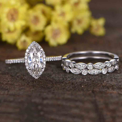 1 carat moissanite engagement ring set marquise cut 0