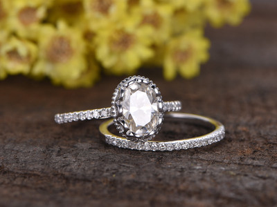 1.5 Carat Oval Moissanite Wedding Sets 14k White Gold Diamond Bridal Ring Retro Vintage Eternity Matching Band