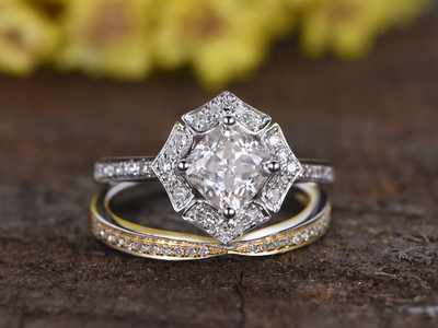 1 Carat Cushion Cut Moissanite Engagement Ring Set Diamond Wedding Band 14k White Gold Art Deco Unique two tone