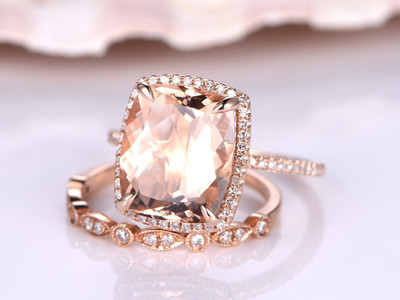 Cushion Morganite Wedding Sets