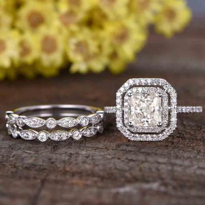 Princess Cut Moissanite Engagement Ring set