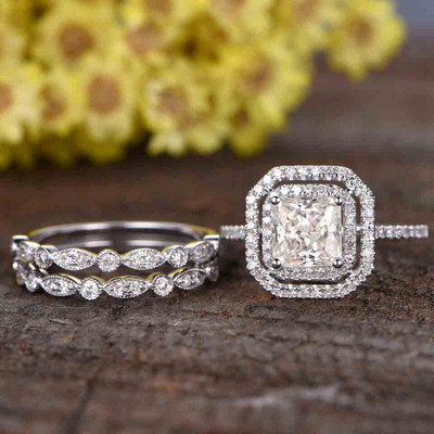 Princess Cut Moissanite Engagement Ring set