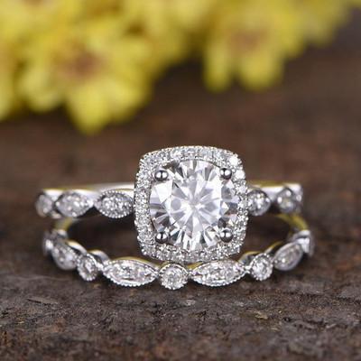 moissanite wedding set-BBBGEM Round Moissanite Engagement Ring