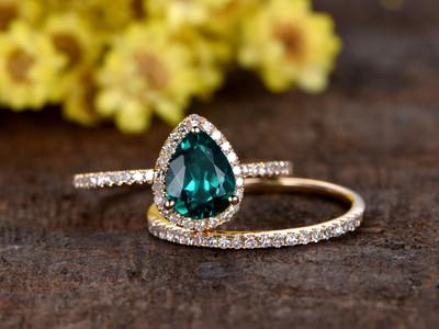 1 Carat Teardrop Emerald Wedding Set Diamond Bridal Ring 14k Rose Gold Stacking Thin Eternity Band