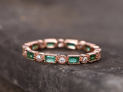 Emerald Wedding Band Rose Gold Plated