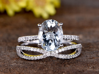 2.5 Carat Oval Aquamarine Wedding Set Diamond Bridal Ring 14k White Gold Curved Loop Infinity Matching Band