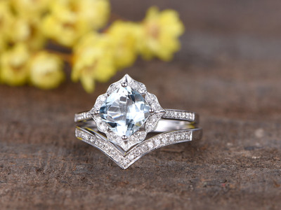 1.4 Carat Cushion Cut Aquamarine Bridal Set Diamond Wedding Ring 14k White Gold Curve V Matching Band
