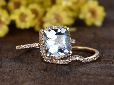 3 Carat Cushion Cut Aquamarine Bridal Set Diamond Wedding Ring 14k Yellow Gold Thin Pave Curve Matching Band