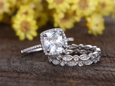 2.2 Carat Cushion Cut Aquamarine Bridal Set Diamond Wedding Ring 14k White Gold Full Eternity Art Deco Matching Band