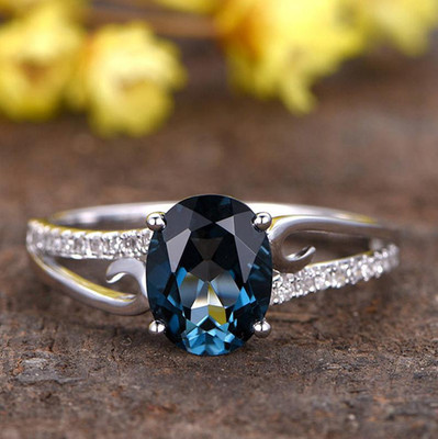 London Blue Topaz Engagement Ring With Diamond 0