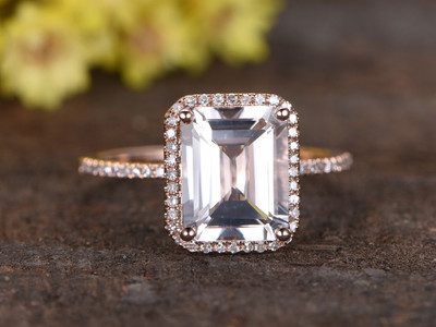 2.6 Carat White Topaz Engagement Ring With Diamond 14k Rose Gold Emerald Cut Halo Stacking Band