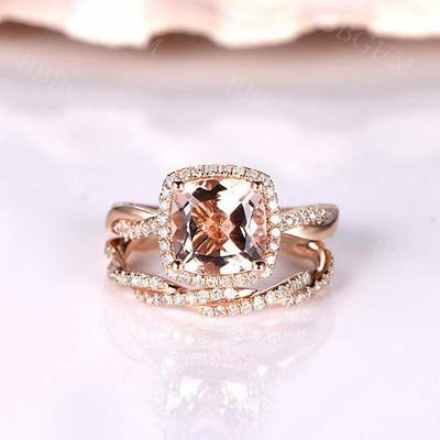 14K/18K Gold Morganite Petite Twisted Vine Halo Diamond Bridal Set