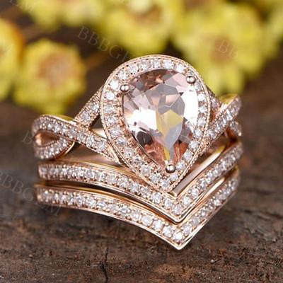 Pear Shaped Morganite Engagement Ring-BBBGEM Pear Shaped Morganite Ring