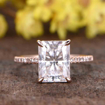 3 Carat Radiant Cut Moissanite Engagement Rings 0